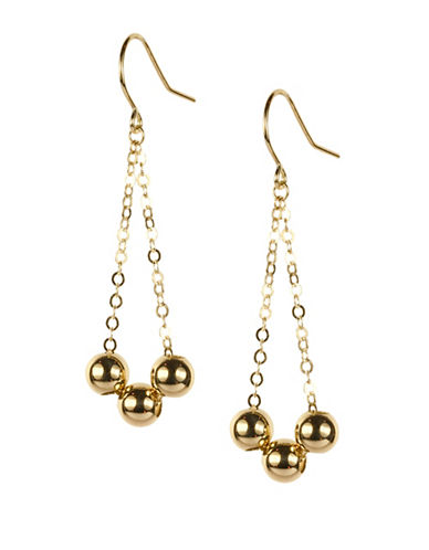 Fine Jewellery 14K Triple Bead Gold Dangle Earrings-GOLD-One Size