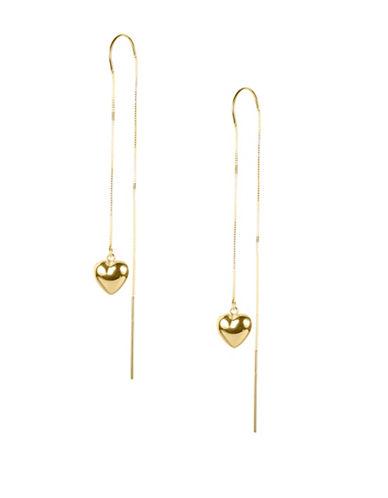 Fine Jewellery 14K Threader Gold Heart Dangle Earrings-GOLD-One Size
