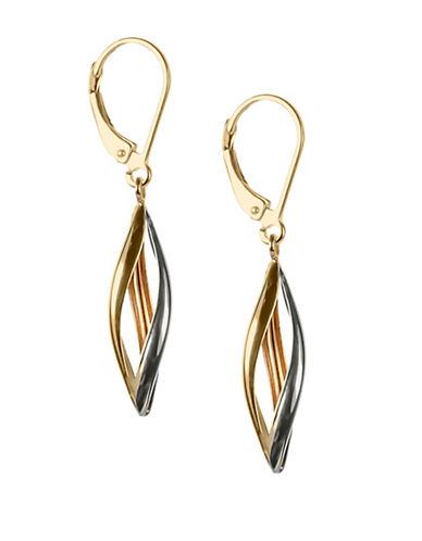 Fine Jewellery 14K Tri-Tone Gold Swirl Drop Earrings-GOLD-One Size