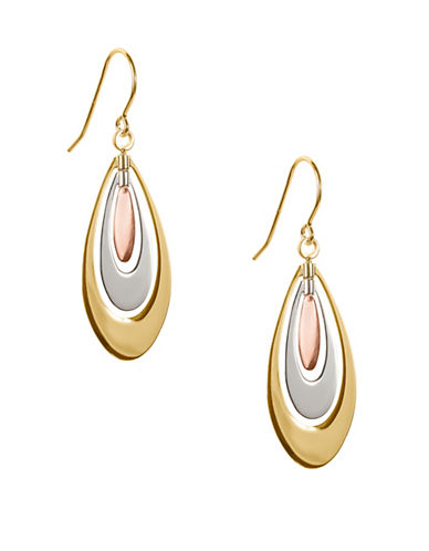 Fine Jewellery 14K Tri-Tone Gold Teardrop Earrings-GOLD-One Size
