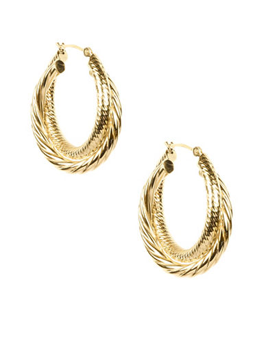 Fine Jewellery 14K Gold Twist Double Hoop Earrings-GOLD-One Size