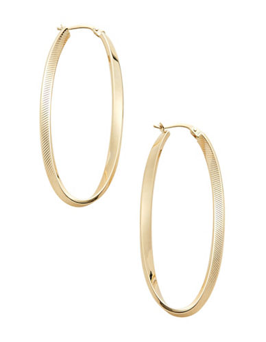 Fine Jewellery 14K Yellow Gold Twisted Oval Hoop Earrings-YELLOW GOLD-One Size