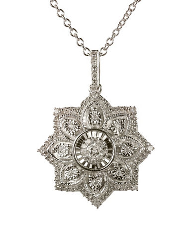 Fine Jewellery Floral Pendant Necklace with 0.20 TCW Diamonds-DIAMOND-One Size