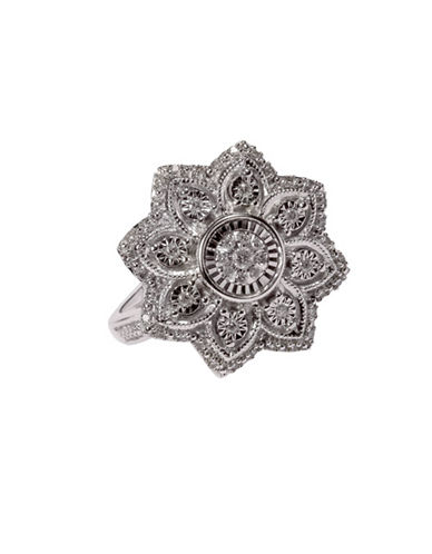 Fine Jewellery Floral Sterling Silver Ring with 0.20 TCW Diamonds-DIAMOND-7