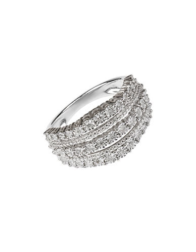 Fine Jewellery Three-Row Sterling Silver Ring with 0.20 TCW Diamonds-DIAMOND-7