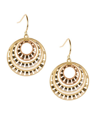 Fine Jewellery 14K Tri-Tone Gold Round Drop Domed Earrings-GOLD-One Size