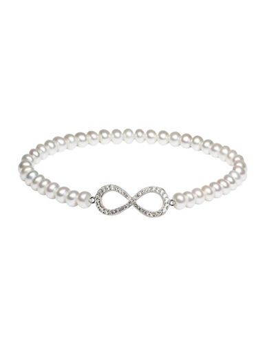 Fine Jewellery 5.5MM White Freshwater Pearl and White Topaz Sterling Silver Stretch Bracelet-WHITE-One Size