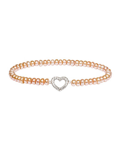 Fine Jewellery 5.5MM Pink Freshwater Pearl and White Topaz Sterling Silver Stretch Bracelet-PINK-One Size