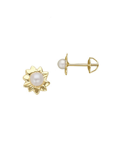 Fine Jewellery 2.5MM White Freshwater Pearl and 14KT Gold Earrings-PEARL-One Size
