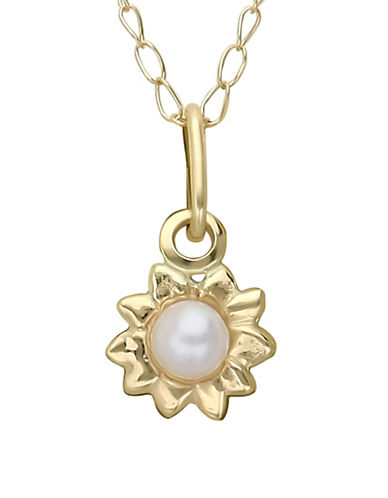 Fine Jewellery 14K Yellow Gold and Pearl Kids Pendant-PEARL-One Size