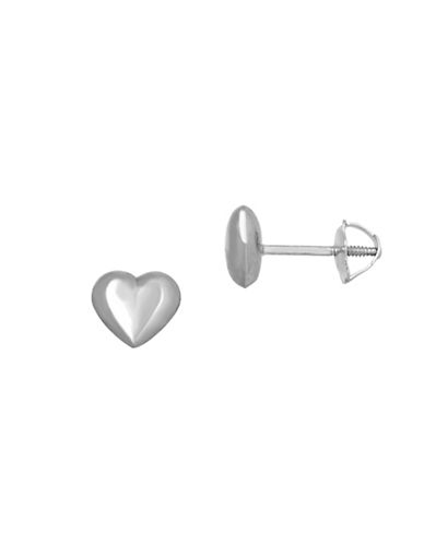 Fine Jewellery 14KT White Gold Heart Earrings-WHITE GOLD-One Size