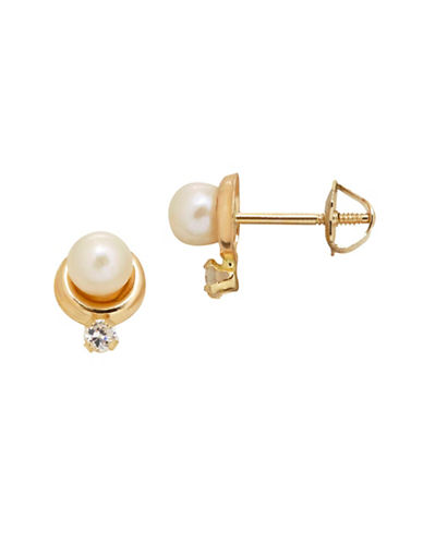 Fine Jewellery 3.75MM White Freshwater Pearl and 14K Yellow Gold Kids Earrings-PEARL-One Size