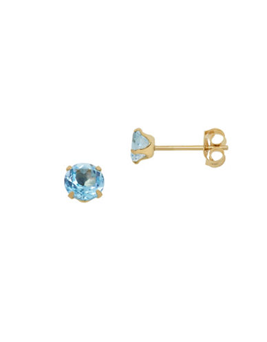 Fine Jewellery 14KT Gold and Blue Topaz Earrings-BLUE TOPAZ-One Size