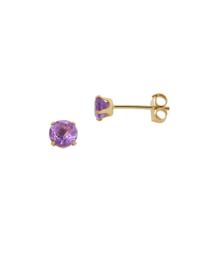 Fine Jewellery 14KT Gold and Amethyst Earrings-AMETHYST-One Size