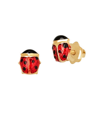 Fine Jewellery 14KT Gold Ladybug Earrings-RED-One Size