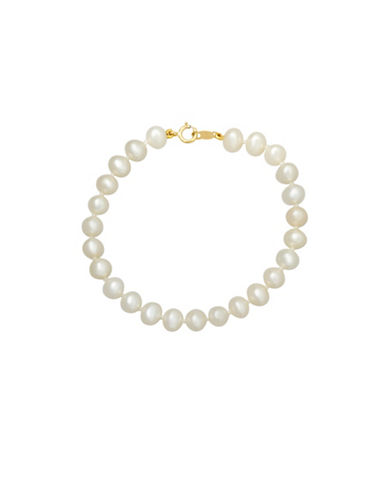 Fine Jewellery 5MM White Freshwater Pearl and 14KT Yellow Gold Bracelet-PEARL-One Size