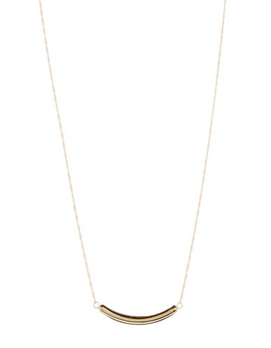 Fine Jewellery 14K Yellow Gold Curved Bar Necklace-GOLD-One Size