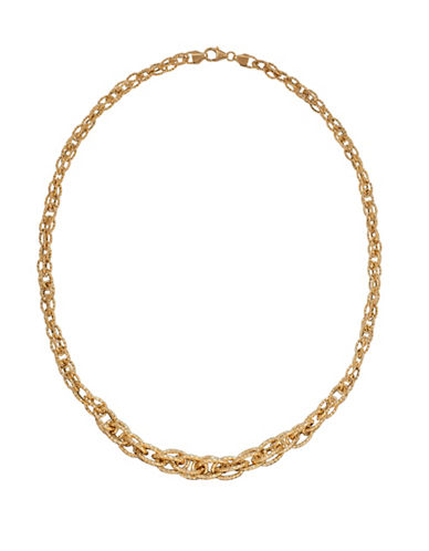 Fine Jewellery 14K Yellow Gold Graduated Oval Interlock Twist Necklace-GOLD-One Size