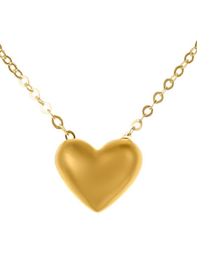 Fine Jewellery 14K Yellow Gold Puff Heart Pendant Necklace-GOLD-One Size