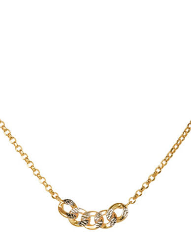 Fine Jewellery 14K Yellow Gold Link Station Necklace-GOLD-One Size