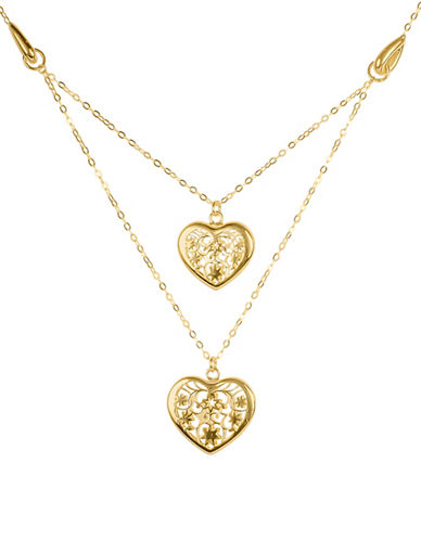 Fine Jewellery 18KT Gold Heart Pendant Necklace-GOLD-One Size