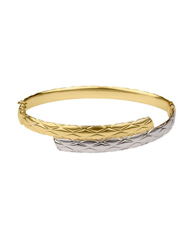 Fine Jewellery 14K Yellow Gold Two-Tone Bypass Bracelet-GOLD-One Size