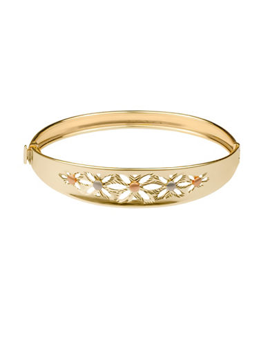 Fine Jewellery 14K Yellow Gold Floral Cut-Out Bracelet-GOLD-One Size