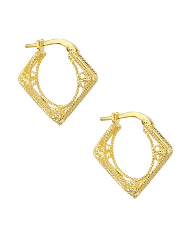 Fine Jewellery 14KT Gold Hoop Earrings with Beaded Edge-GOLD-One Size