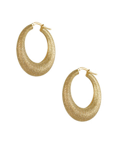 Fine Jewellery 14KT Yellow Gold Woven Oval Hoop Earrings-GOLD-One Size