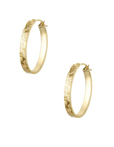 Fine Jewellery 14KT Yellow Gold Textured Oval Hoop Earrings-GOLD-One Size