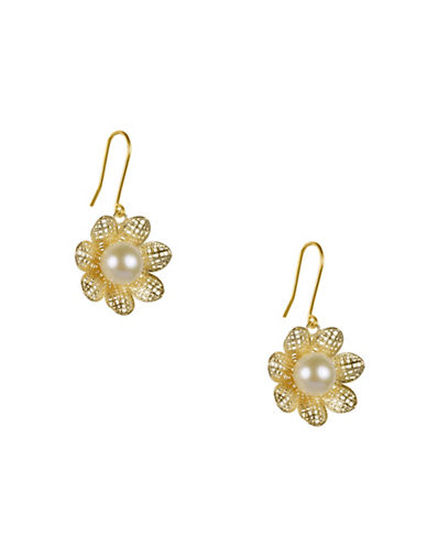 Fine Jewellery 7.5MM Freshwater Pearl and 14KT Yellow Gold Flower Earrings-GOLD-One Size