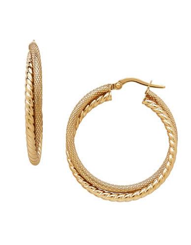 Fine Jewellery 14K Yellow Gold Twist Hoop Earrings-GOLD-One Size