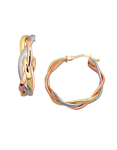 Fine Jewellery 14K Tri-Tone Gold Hoop Earrings-TRI COLOUR-One Size