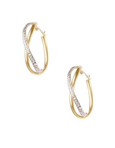 Fine Jewellery 14KT Yellow Gold Curve Hoop Earrings-GOLD-One Size