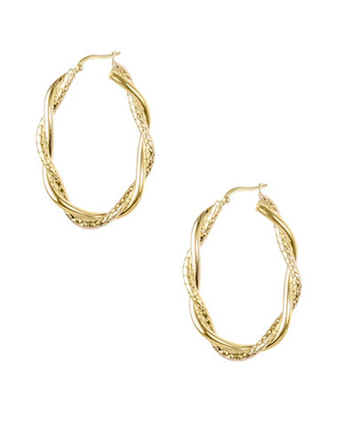 Fine Jewellery 14KT Yellow Gold Twisted Hoop Earrings-GOLD-One Size