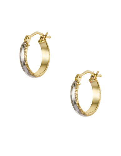 Fine Jewellery 14K Yellow Gold Faceted Hoop Earrings-GOLD-One Size