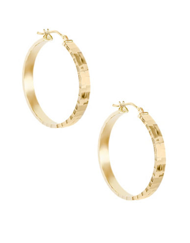 Fine Jewellery 14KT Yellow Gold Faceted Oval Hoop Earrings-GOLD-One Size