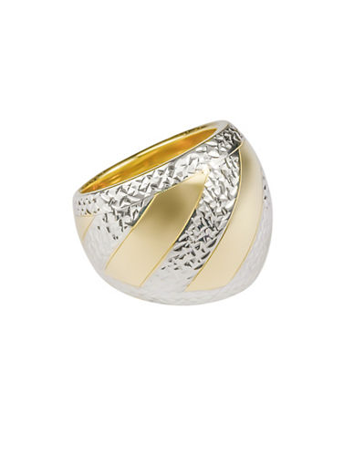 Fine Jewellery 14K Yellow Gold Two-Tone Dome Ring-GOLD-7