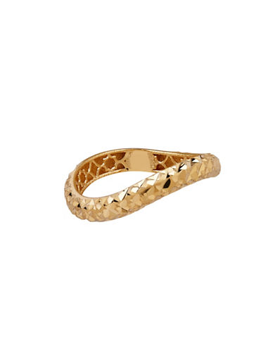 Fine Jewellery 14K Yellow Gold Wavy Cross-Cut Ring-GOLD-7