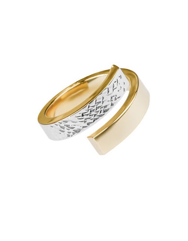 Fine Jewellery 14K Yellow Gold Two-Tone Swirl Ring-GOLD-8