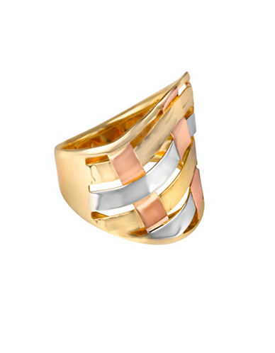 Fine Jewellery 14K Yellow Gold Tri-Tone Woven Swirl Ring-GOLD-7