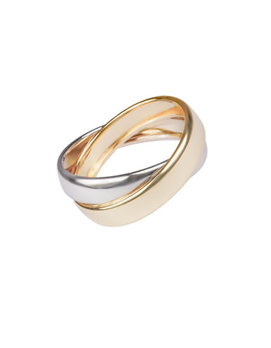 Fine Jewellery 14K Rose Gold Two-Tone Interlocking Ring-GOLD-8.5