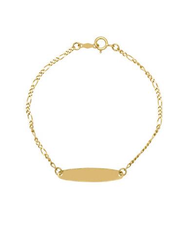Fine Jewellery Kids 14K Gold Oval ID Figaro Bracelet-GOLD-One Size