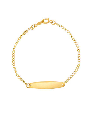 Fine Jewellery Kids 14K Gold Oval ID Curb Cut Bracelet-GOLD-One Size