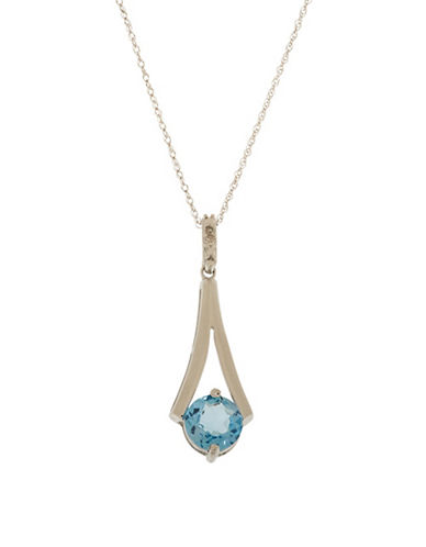 Town & Country Diamond, Topaz and 10K White Gold Pendant Necklace-TOPAZ-One Size