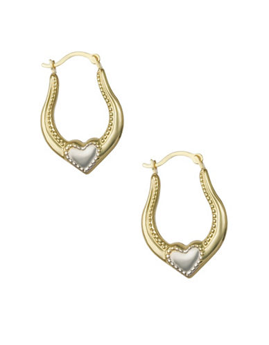 Finecraft Ii 14KT Two-Tone Creol Heart Earrings-YELLOW GOLD-One Size