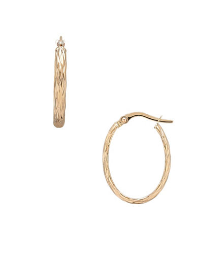 Finecraft Ii 14K Yellow Gold Quilted Hoop Earrings-YELLOW GOLD-One Size