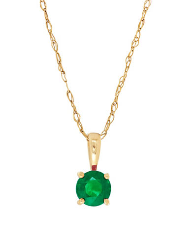 Fine Jewellery 14K Yellow Gold Emerald Pendant Necklace-EMERALD-One Size