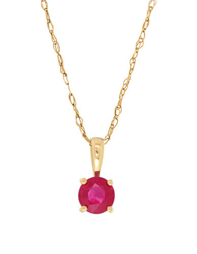Fine Jewellery 14K Yellow Gold Ruby Pendant Necklace-RUBY-One Size
