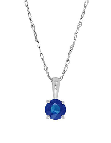 Fine Jewellery 14K White Gold Sapphire Pendant Necklace-SAPPHIRE-One Size